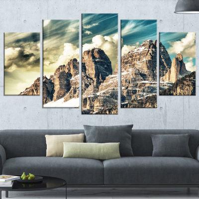 Designart High Peaks Of Dolomites Landscape PhotoCanvas ArtPrint - 4 Panels