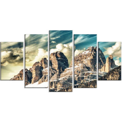 High Peaks Of Dolomites Landscape Photo Wrapped Canvas Art Print - 5 Panels