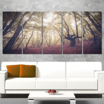 Designart High Rise Trees In Forest Landscape Photography Canvas Print - 5 Panels