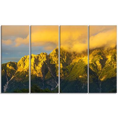 Designart Highrise Green Mountains Landscape PhotoCanvas Art Print - 4 Panels