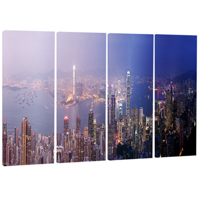 Designart Hong Kong From Day To Night Cityscape Photo CanvasPrint - 4 Panels