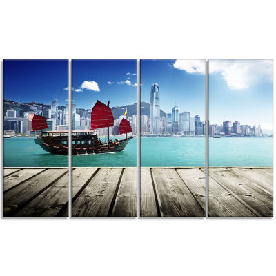 Designart Hong Kong Harbor Photography Canvas ArtPrint - 4Panels