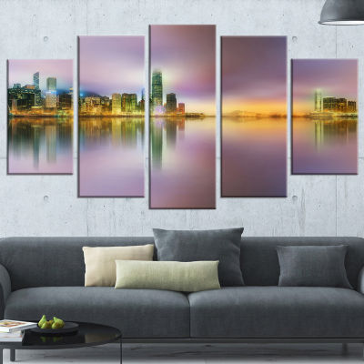 Designart Hong Kong Panorama At Twilight Large Cityscape Photo Canvas Print - 5 Panels