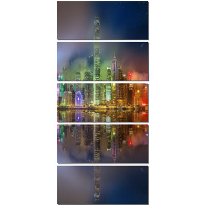 Designart Hong Kong Panoramic View Seascape Photography Canvas Art Print - 4 Panels