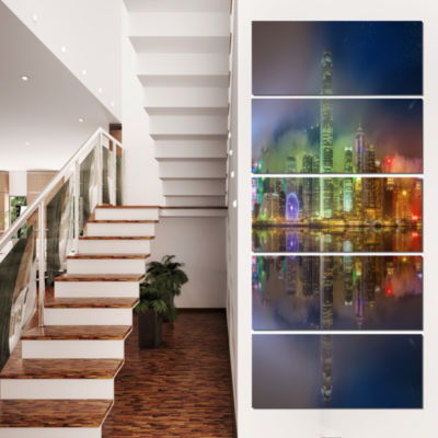 Designart Hong Kong Panoramic View Seascape Photography Canvas Art Print - 5 Panels