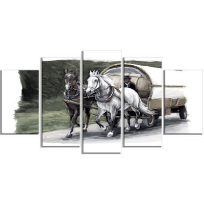 Designart Horse Cart Black And White Animal Painting CanvasArt Print - 4 Panels