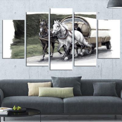 Designart Horse Cart Black And White Animal Painting CanvasArt Print - 5 Panels