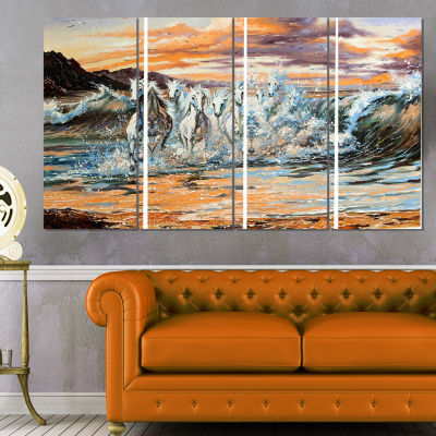 Designart Horses From Waves Animal Canvas Art Print - 4 Panels