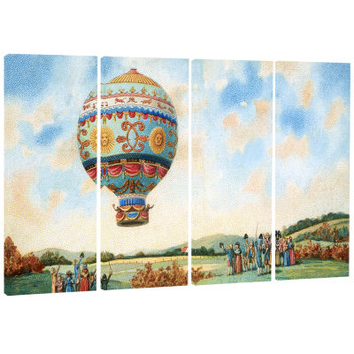 Hot Air Balloon Illustration Abstract Print On Canvas - 4 Panels