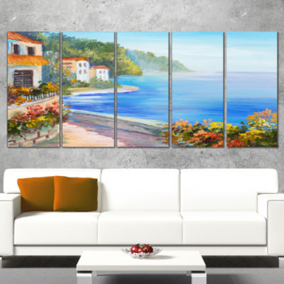 Designart House Near Blue Sea Landscape Art PrintCanvas - 5Panels