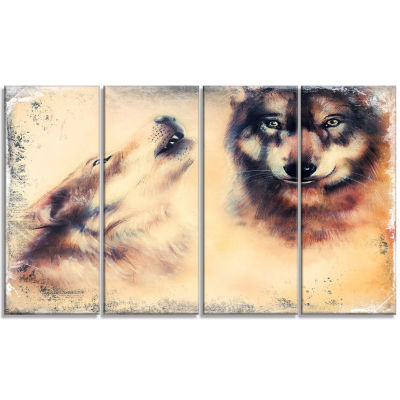 Howling Wolf Animal Canvas Art Print - 4 Panels