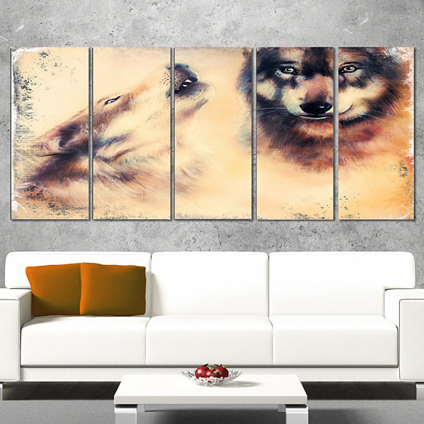 Designart Howling Wolf Animal Canvas Art Print - 4Panels