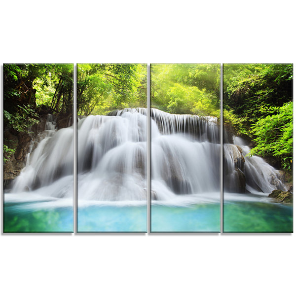 Designart Huai Mae Kamin Waterfall Landscape Art Print Canvas - 4 Panels