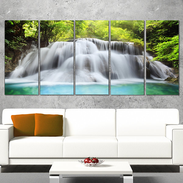 Designart Huai Mae Kamin Waterfall Photography Canvas Art Print - 5 Panels