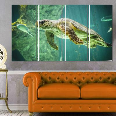 Designart Huge Turtle Swimming Animal Canvas Art Print - 4 Panels