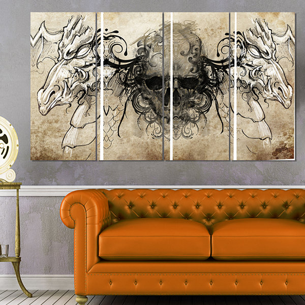 Designart Human Skull Tattoo Sketch Abstract PrintOn Canvas- 4 Panels