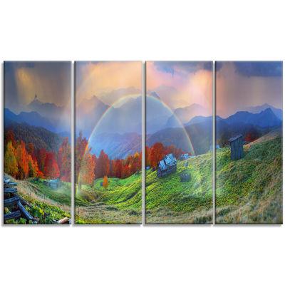 Designart Huts Over Autumn Mountains Landscape Photo CanvasArt Print - 4 Panels