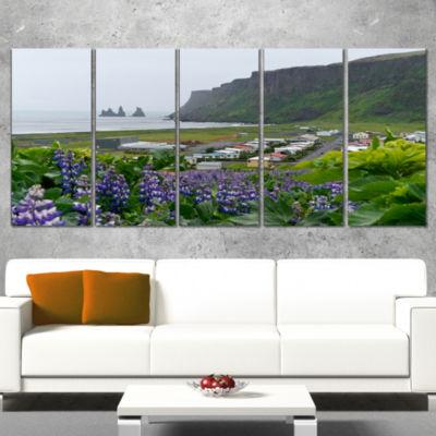 Designart Icelandic Town Vik Landscape PhotographyCanvas Art Print - 5 Panels