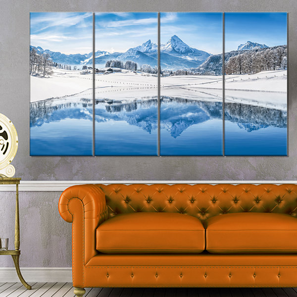 Designart Icy Winter Mountain Alps Landscape Photography Canvas Print - 4 Panels