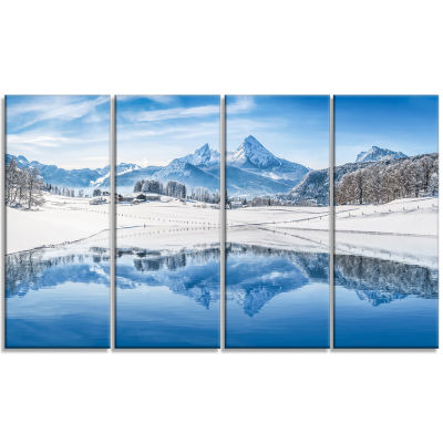 Icy Winter Mountain Alps Landscape Photography Canvas Print - 4 Panels