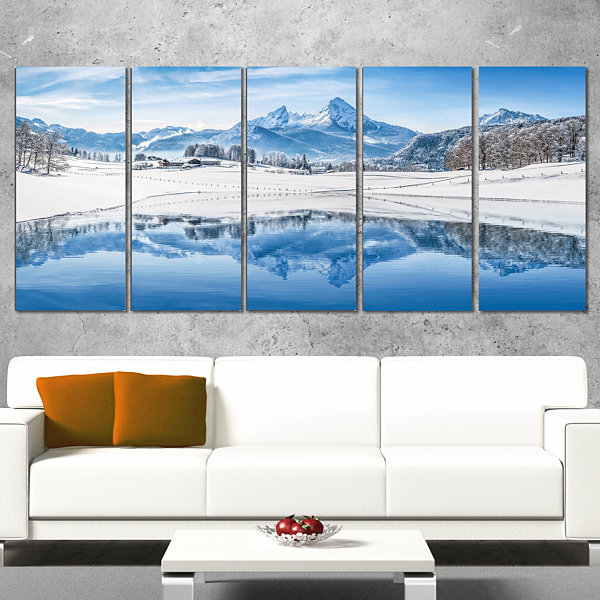 Designart Icy Winter Mountain Alps Landscape Photography Canvas Print - 5 Panels