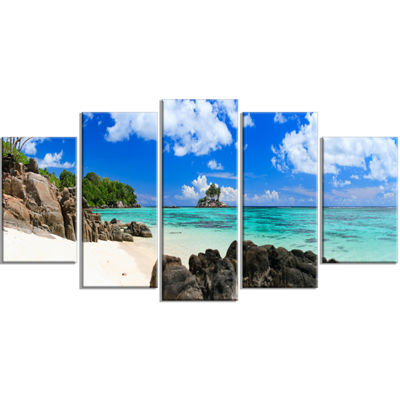 Designart Ideal Beach In Seychelles Seascape Photography Canvas Art Print - 4 Panels