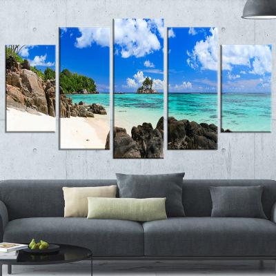 Designart Ideal Beach In Seychelles Seascape Photography Canvas Art Print - 5 Panels