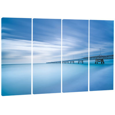 Industrial Pier In The Sea Seascape Canvas Art Print - 4 Panels