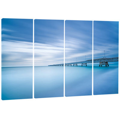 Designart Industrial Pier In The Sea Seascape Canvas Art Print - 4 Panels