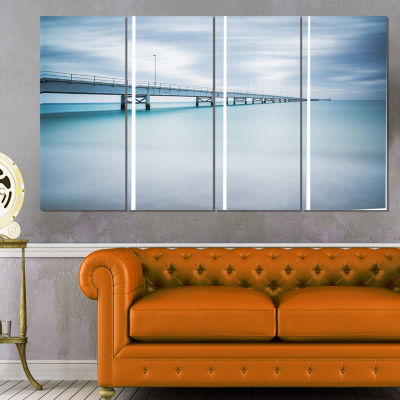 Designart Industrial Pier Side View Seascape Canvas Art Print - 4 Panels