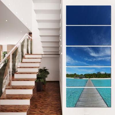 Designart Infinite Sea Pier Seascape Photography Canvas ArtPrint - 4 Panels