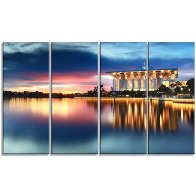 Designart Iron Mosque Malaysia Panorama Seashore Photo Canvas Print - 4 Panels