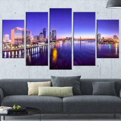 Designart Jacksonville Florida City Cityscape Large Photography Canvas Art Print - 5 Panels