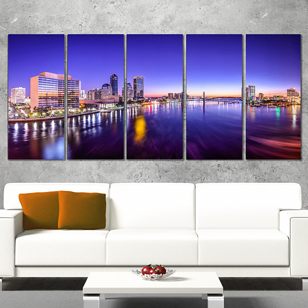 Designart Jacksonville Florida City Cityscape Photography Canvas Art Print - 5 Panels
