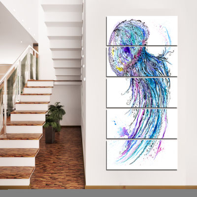 Designart Jelly Fish Watercolor Animal Art CanvasPrint - 5Panels
