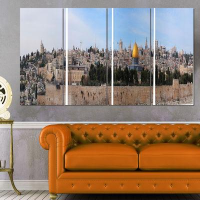 Designart Jerusalem Cityscape Panorama PhotographyCanvas Art Print - 4 Panels