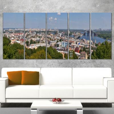 Designart Kiev Cityscape Panorama Photography Canvas Art Print - 4 Panels