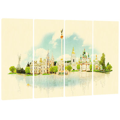 Kiev Panoramic View Cityscape Watercolor Canvas Print - 4 Panels