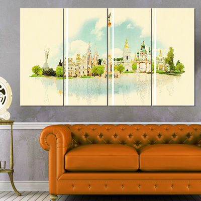 Designart Kiev Panoramic View Cityscape WatercolorCanvas Print - 4 Panels