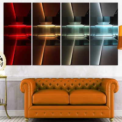 Designart Kitchen With Led Lighting Abstract Canvas Art Print - 4 Panels