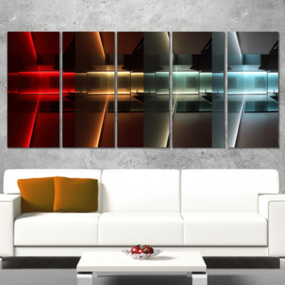 Designart Kitchen With Led Lighting Abstract Canvas Art Print - 5 Panels