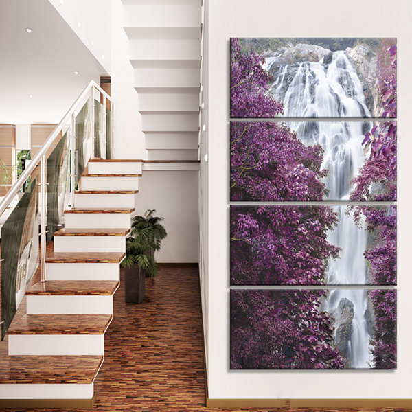 Designart Klonglan Waterfall Floral Abstract Canvas Artwork- 4 Panels