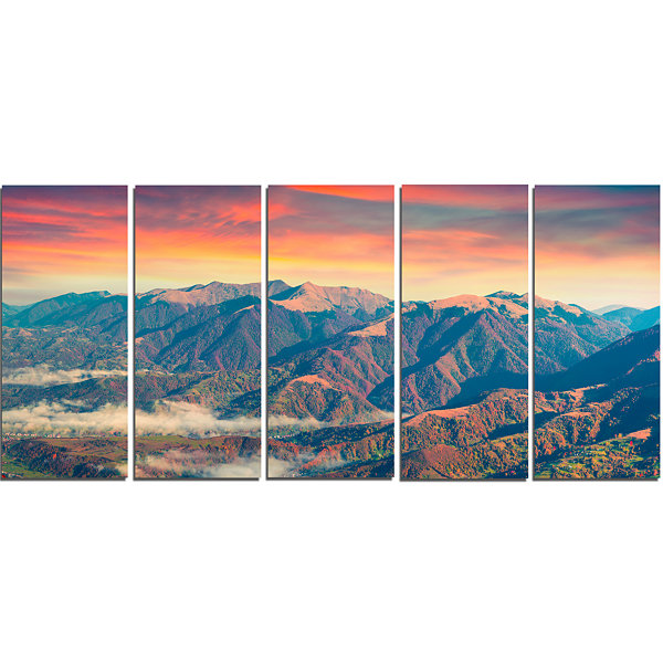 Designart Kolochava Village In Morning Landscape PhotographyCanvas Art Print - 5 Panels