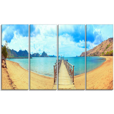 Komodo Panorama With Pier Landscape Photography Canvas Print - 4 Panels