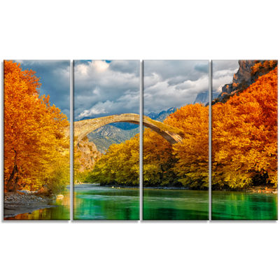 Designart Konitsa Bridge Photography Canvas Art Print - 4 Panels