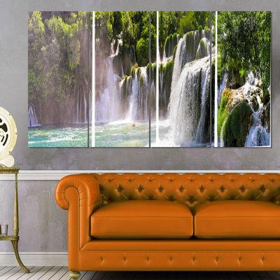 Designart Krka Waterfall Landscape Abstract CanvasArtwork -4 Panels