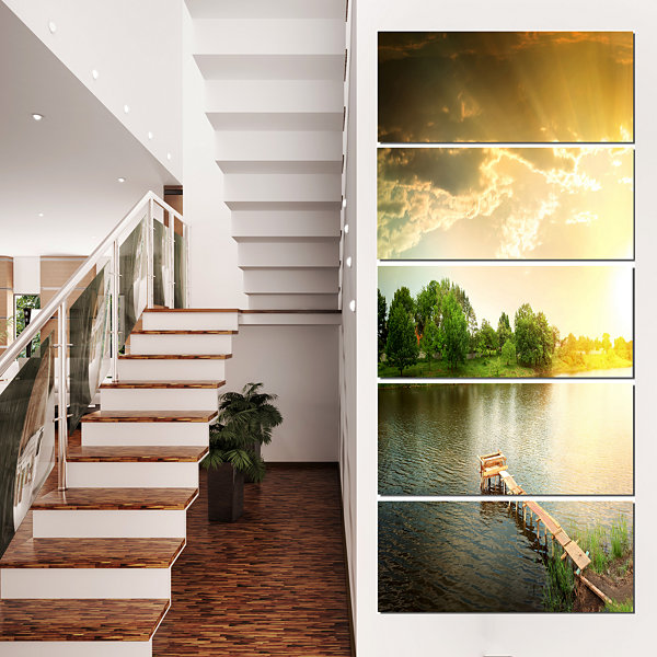 Designart Lake Under Evening Sun Landscape Photo Canvas ArtPrint - 5 Panels