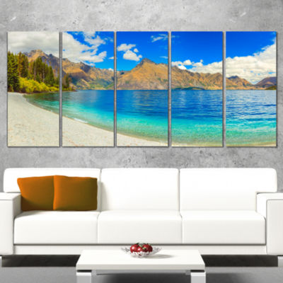 Designart Lake Wakatipu Landscape Photography Canvas Art Print - 5 Panels