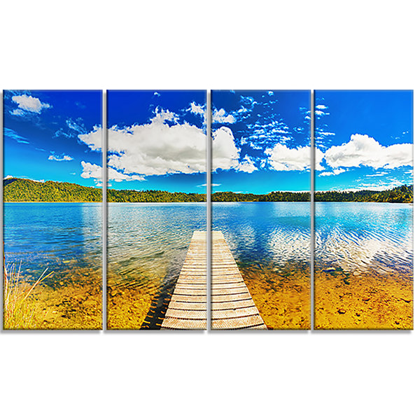 Designart Lake With Pier Panorama Photography Canvas Art Print - 4 Panels