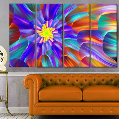 Designart Spectacular Stain Glass With Spirals Floral Canvas Art Print - 4 Panels